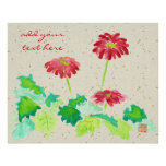 Gerbera Watercolor Painting Red Green Washi Paper Poster