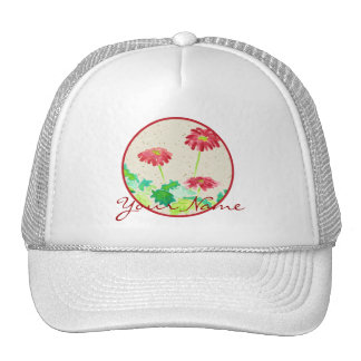 Gerbera Watercolor Painting Red Green Washi Paper Trucker Hat