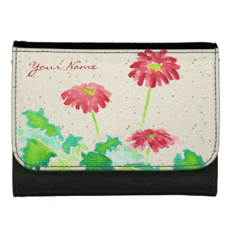 Gerbera Watercolor Painting Red Green Washi Paper Women's Wallets