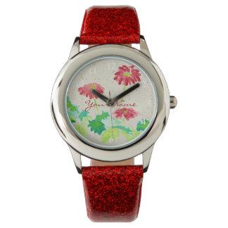 Gerbera Watercolor Painting Red Green Washi Paper Wristwatch
