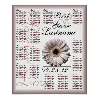 Gerbera White Daisy Wedding Guest Seating Chart