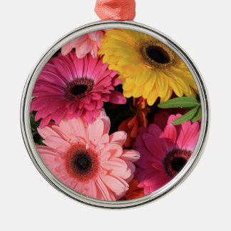gerberas in a colorful wedding bouquet metal ornament