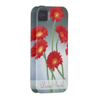 Gerberas rojos en un fondo del gris azul iPhone 4/4S carcasa