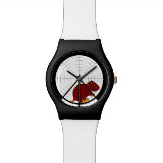 Gerbil de Brown en reloj negro y blanco de la rued