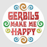 Gerbil Happiness Round Stickers