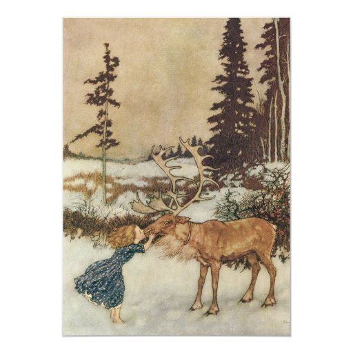 """Gerda and the Reindeer by Dulac Christmas Party 5"""" X 7"""" Invitation Card"""