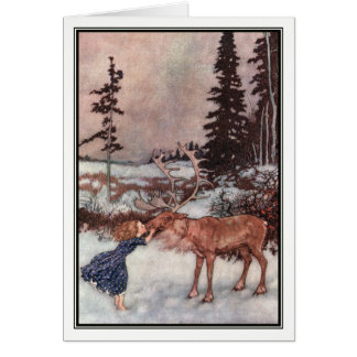 Gerda and the Reindeer by Edmund Dulac Card