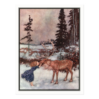 Gerda y el reno de Edmund Dulac Tarjetas Postales