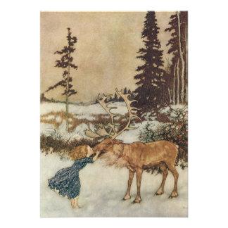 Gerda y el reno de la fiesta de Navidad de Dulac Invitaciones Personalizada