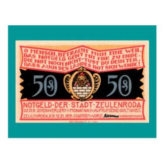 "German 1921 ""Zeulenroda"" 50 Pfennig Note Postcard"