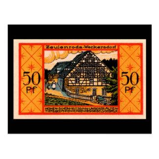 "German 50 Pfennig ""Zeulenroda"" Note Postcard"