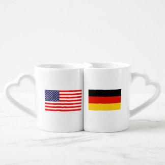 German American flag relationship lovers mug set