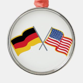 German American Flags Metal Ornament