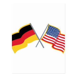 German American Flags Postcard