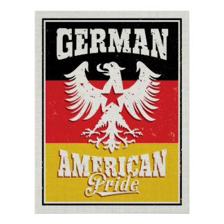 German American Heritage Eagle and Flag Poster