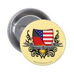 German-American Shield Flag 2 Inch Round Button