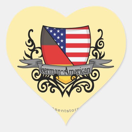 German-American Shield Flag Heart Sticker