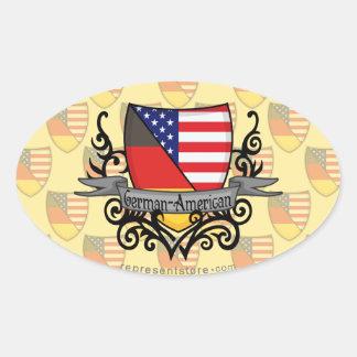 German-American Shield Flag Oval Sticker