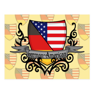 German-American Shield Flag Postcard