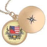 German-American Shield Flag Round Locket Necklace