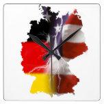 German American Unity Square Wall Clock