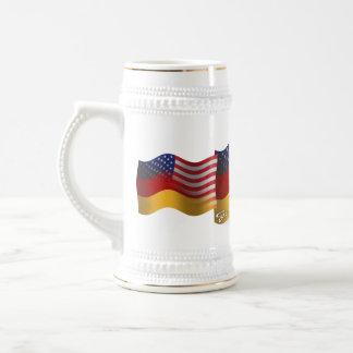 German-American Waving Flag Beer Stein