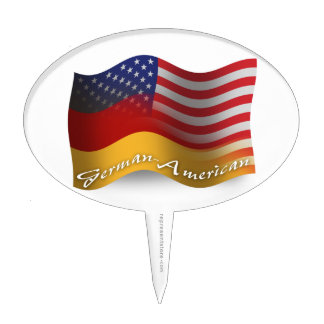 German-American Waving Flag Cake Topper