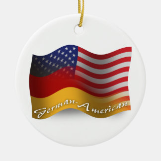 German-American Waving Flag Ceramic Ornament