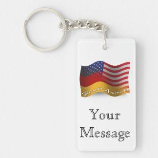 German-American Waving Flag Double-Sided Rectangular Acrylic Keychain
