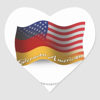 German-American Waving Flag Heart Sticker