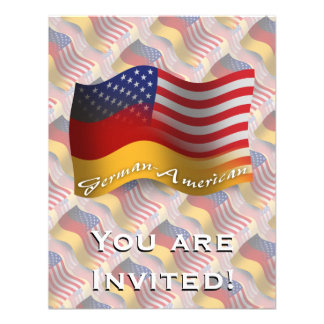 German-American Waving Flag Personalized Announcement