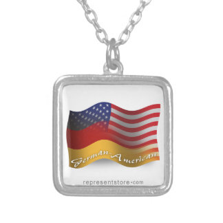 German-American Waving Flag Square Pendant Necklace