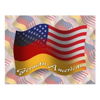 German-American Waving Flag Postcard