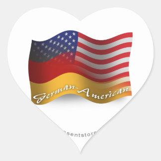 German-American Waving Flag Heart Stickers