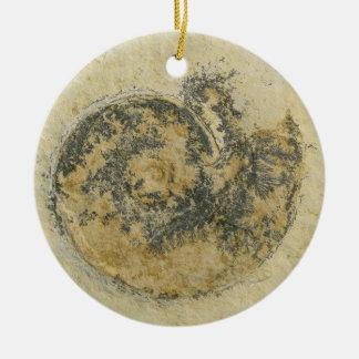 German Ammonite with Dendrites Ceramic Ornament
