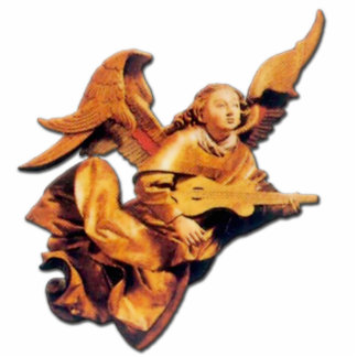 German -Angel with Lute - Ornament Sculpture