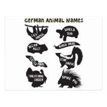 German Animal Names Postcard