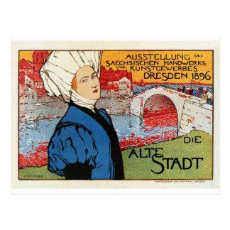 German artisanic art expo Dresden 1896 Postcard