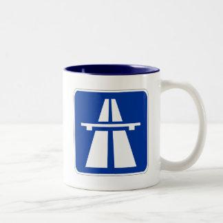 German Autobahn Sign Two-Tone Coffee Mug