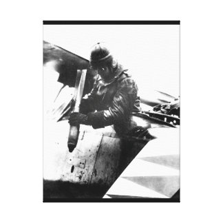 German aviator dropping a bomb_War image Canvas Print