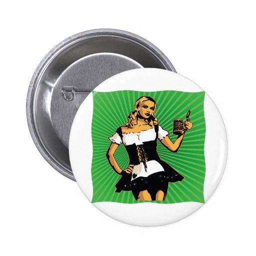 German Beer Girl Pinback Buttons