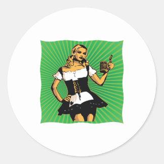 German Beer Girl Classic Round Sticker