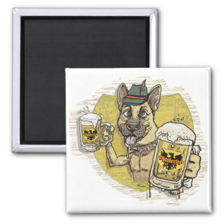 German Beer Hound 2 Inch Square Magnet