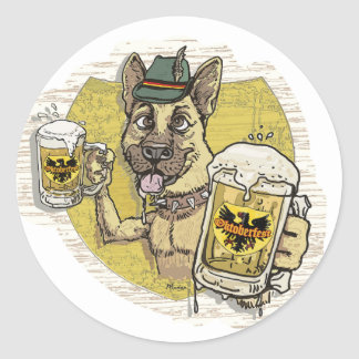 German Beer Hound Classic Round Sticker