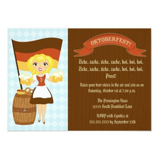 German beer maid Oktoberfest party invitation