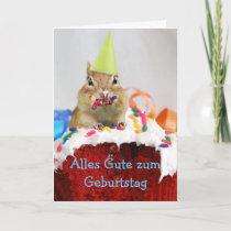 German Birthday Chipmunk Card