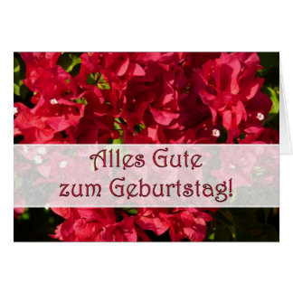 German Birthday Red Bougainvilleas Card