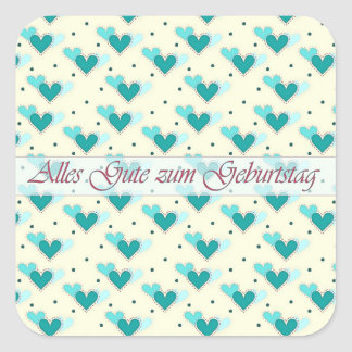 German Birthday Turquoise Hearts on Yellow Sticker