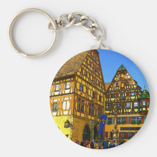 German Cartoon House Rhineland region of Germany Basic Round Button Keychain