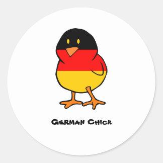 German Chick Classic Round Sticker